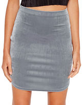 Missguided Velvet Curve Hem Mini Skirt