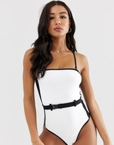New Look belted color block swimsuit in white pattern