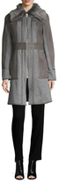 Badgley Mischka Becca Lamb Fur-Trimmed Wool and Leather Paneled Coat
