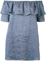 Roberto Collina chambray ruffled off-the-shoulder top - women - Linen/Flax - XS