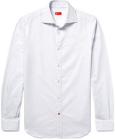 Isaia Slim-fit Pin-dot Textured Cotton-poplin Shirt - White