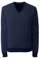 Lands' End Men's Supima Stripe V-neck Sweater-Oatmeal Heather