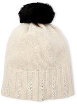Portolano Studded Cashmere Beanie with Fur Pom-Pom