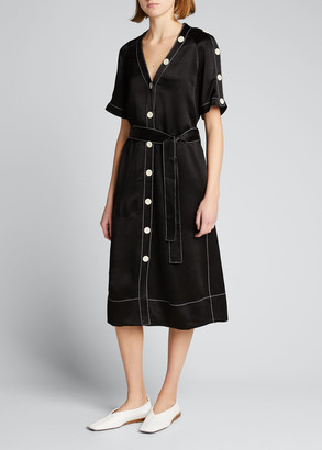Proenza Schouler White Label Dobby Crepe Belted Convertible Shirtdress