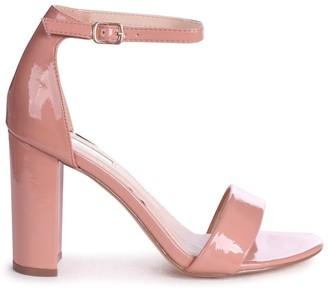 Linzi DAZE - Peach Patent Barely There Block High Heel
