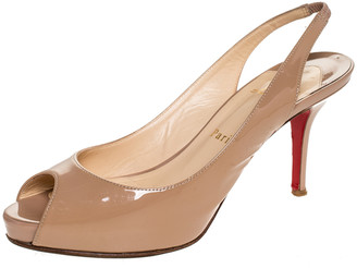 Christian Louboutin Beige Patent Leather Mater Claude Peep Toe Slingback Sandals Size 37