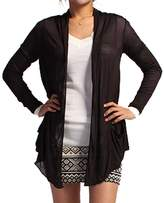Hollywood Star Fashion Light Weight Flyaway Cardigan Shawl Collar Shrug with Drape Pockets Cardi
