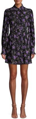 Michael Kors Belted Floral Silk Shirtdress