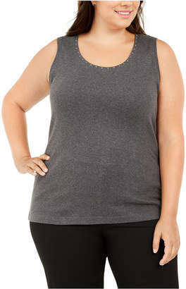 Karen Scott Plus Size Cotton Studded Tank Top