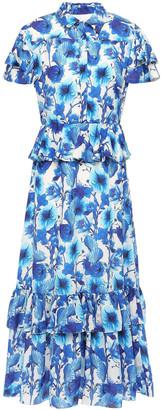 Borgo de Nor Hillevi Tiered Floral-print Silk Midi Shirt Dress