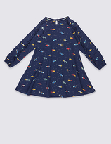 Marks and Spencer All Over Print Cotton Dress with Stretch (3 Months - 5 Years)