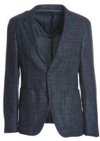 Z Zegna Men's Blue/burgundy Wool Blazer.