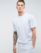 Converse Essentials Short Sleeve Sweat In Blue 10005104-a02