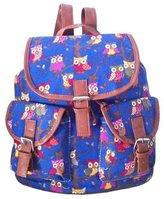 Your Gallery Girls Elegant Retro Owl Print Backpack Rucksack Shoulder Hand School Bag, navy