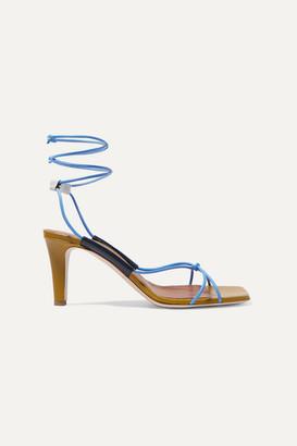 Malone Souliers + Roksanda Camila 70 Leather Sandals - Sky blue