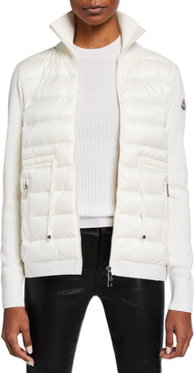 Moncler Down Combo Cardigan with Knit Sleeves