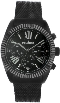 Peugeot Men's Stainless Multifunction Mesh Bracelet Watch