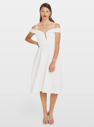 Miss Selfridge White Scuba Cold Shoulder Mesh Prom Dress