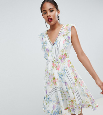 Asos DESIGN Tall Ruffle Mini Dress With Open Back In Floral Print