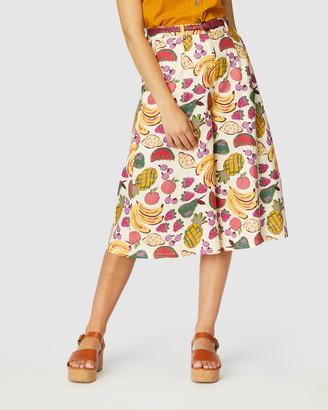 Princess Highway - Women's White Chino Shorts - Fruit Salad Skort - Size One Size, 6 at The Iconic
