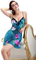 Colorfulworldstore Summer Leopard Print Silk pajamas sleepwear-sexy charming lady Sling nightdress