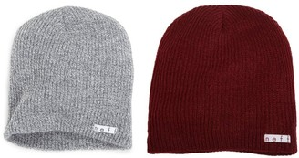Neff 2 Pack Daily Beanie Grey/Maroon One Size/One Size