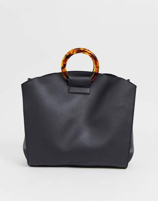 French Connection faux leather tote bag with tortoiseshell grab handle-Black