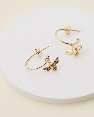 Estella Bartlett Bee Drop Hoop Earrings