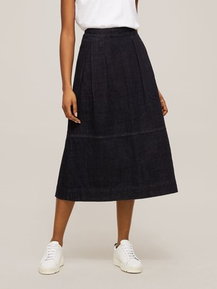Toast Denim Panel Skirt, Indigo