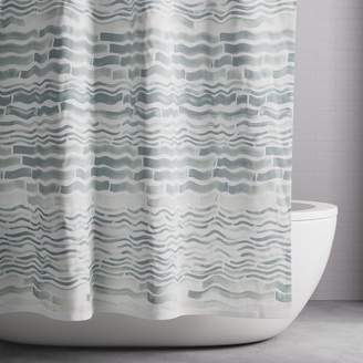 west elm Watercolor Wavelines Shower Curtain - Blue Bird