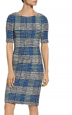 St. John Ribbon Plaid Bateau Neck Dress