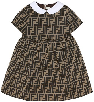 Fendi Kids Baby logo cotton-blend dress