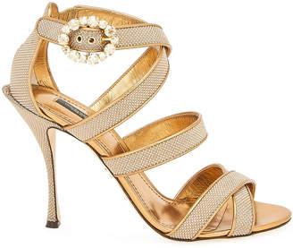 Dolce & Gabbana 105mm Glitter Strappy Crystal-Buckle Sandals