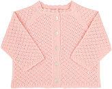 Grey Rabbit Baby Crocheted Cashmere Cardigan-PINK