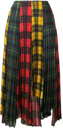 Monse Plaid Colour-Block Pleated Skirt