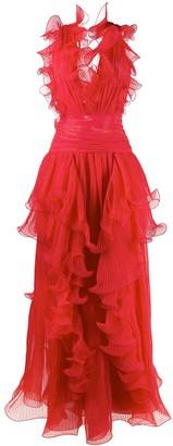 Alberta Ferretti Ruffled Silk Gown