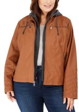 Maralyn & Me Juniors' Plus Size Hoodie Faux-Leather Moto Jacket