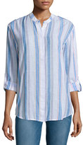 AG Adriano Goldschmied Briar Long-Sleeve Striped Shirt, Versi Linen True