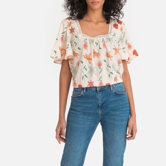 Lpb Woman Lace Square Neck Blouse with Short Floaty Sleeves