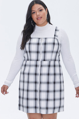 Forever 21 Plus Size Plaid Zippered Overall Dress