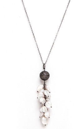 Rivka Friedman Signature Silver 1.60 Ct. Tw. Champagne Diamond & 10Mm Pearl 32In Necklace