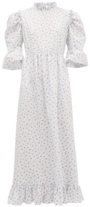 Batsheva Kate Floral And Stripe Print Ruffled Cotton Dress - Womens - Blue White