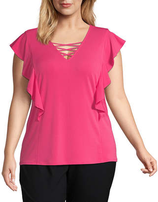 Bold Elements Womens Lace Up Front Ruffle Sleeve Tee - Plus