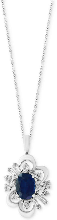 Effy Royale Bleu Sapphire (1-3/8 ct. t.w.) and Diamond (1/2 ct. t.w.) Pendant Necklace in 14k White Gold
