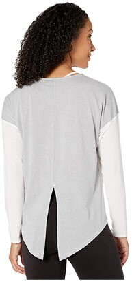 The North Face Workout Novelty Long Sleeve (TNF White/TNF Light Grey Heather) Women's Long Sleeve Pullover