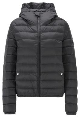 BOSS Hooded down jacket with water-repellent outer