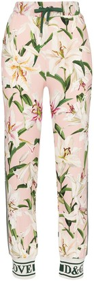 Dolce & Gabbana Cady lily-print track trousers