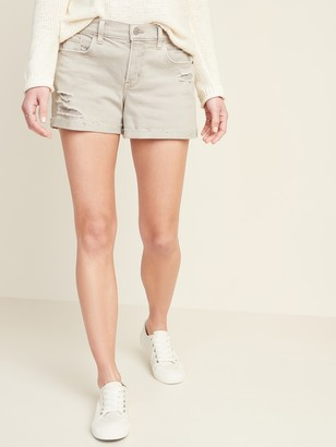 Old Navy Mid-Rise Distressed Boyfriend Beige-Color Jean Shorts for Women -- 3-inch inseam