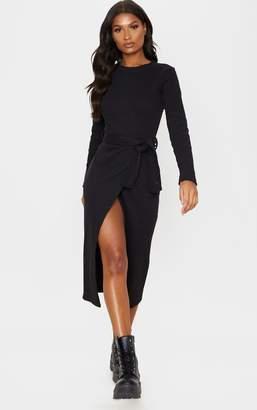 PrettyLittleThing Black Heavy Rib Tie Waist Wrap Midi Dress