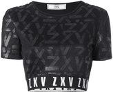 Versus tonal pattern cropped T-shirt - women - Cotton/Polyamide/Polyester/Spandex/Elastane - 40